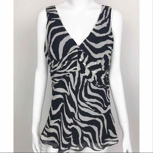 White House Black Market Zebra Print Top